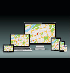 gps navigation devices template vector image