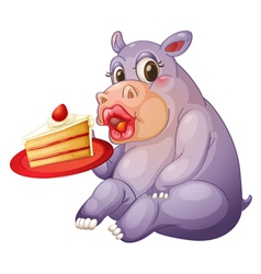 hippopotamus and pastry vector image