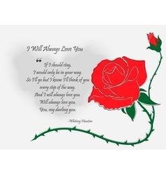 Letter with Drawn by Hand Rose vector image