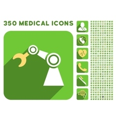 Manipulator icon and medical longshadow icon set vector