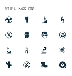 Protection icons set with electrical hazard light vector