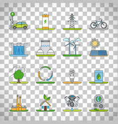 renewable energy outline icons vector image
