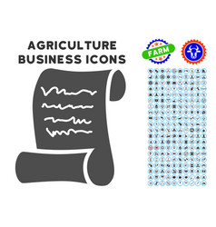 Script roll icon with agriculture set vector