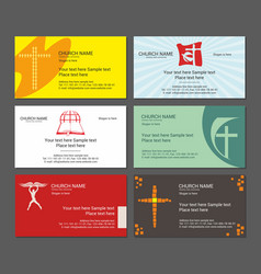 Set christian business cards for the church vector