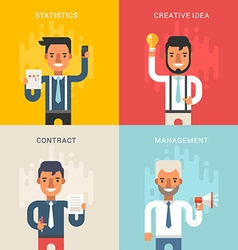 Set of business concepts with businessman cartoon vector