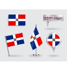 Set of dominican republic pin icon and map vector