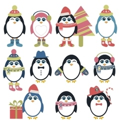 Set of penguins in winter vector