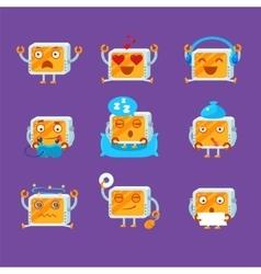 Small Robot Emoji Set vector image
