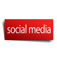 Social media red paper sign isolated on white vector