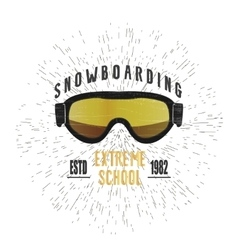 Vintage snowboarding or winter sports badge vector