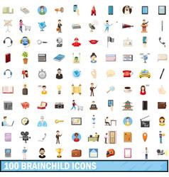 100 brainchild icons set cartoon style vector