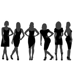 Women silhouettes with rainbow color dresses vector image
