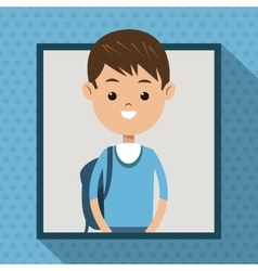 Boy blue tshirt student frame dot shadow vector
