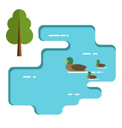 Ducks family swimming in the lake Flat vector image