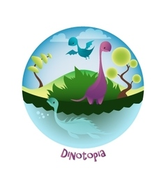 Cartoon landscape with lovely dinosaurs dinotopia vector