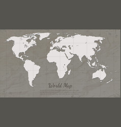 vintage world map paper card map silhouette vector image