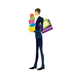 Man holding gift box vector
