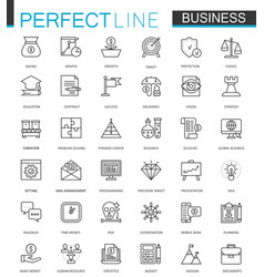 business thin line web icons set outline stroke vector image