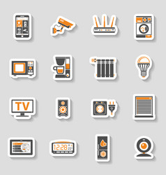 Smart house and internet of things sticker icons vector