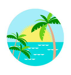 palm trees against the setting sun in the water vector image