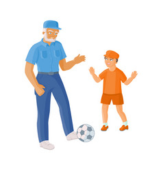 flat grandfather grandson playing football vector image