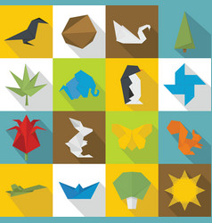Origami icons set flat style vector