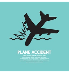 Plane accident sinking into the sea vector