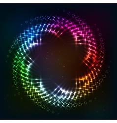 Abstract circle shining lights frame vector image