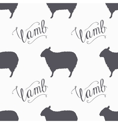 Hipster style sheep seamless pattern lamb meat vector