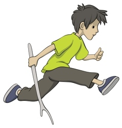 Running boy with a stick vector