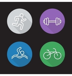 Sport flat linear icons set vector