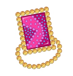 Gemstone golden rim brooch vector
