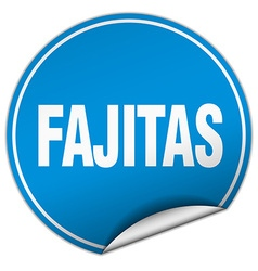 Fajitas round blue sticker isolated on white vector