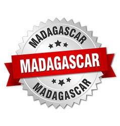 Madagascar round silver badge with red ribbon vector