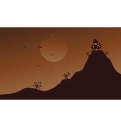 Hills and bat scenery at halloween vector