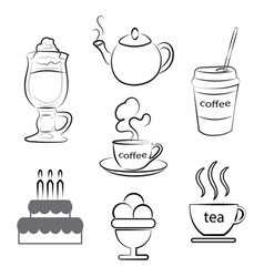 A cup of hot coffee tea and dessert vector