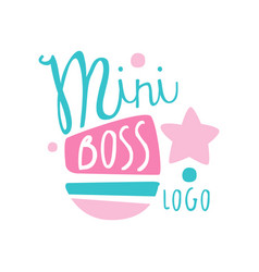 Blue and pink mini boss logo creative design vector