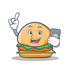 Burger character fast food with phone vector