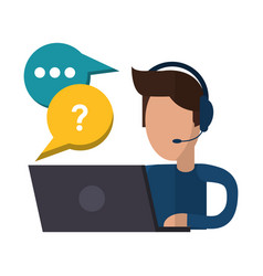 Call center man talking laptop vector