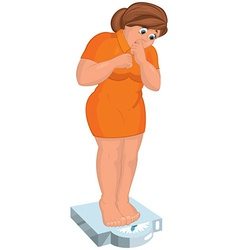 Cartoon young fat woman in orange dress barefoot vector