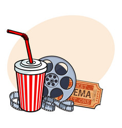 Cinema attributes film reel ticket soda water vector