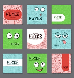 Collection of brightly colored postcards with vector image vector image