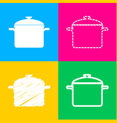 Cooking pan sign four styles of icon on four vector