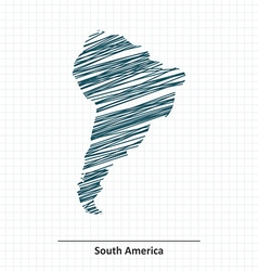 Doodle sketch of South America map vector image