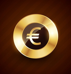 euro golden coin design with shiny effects vector image
