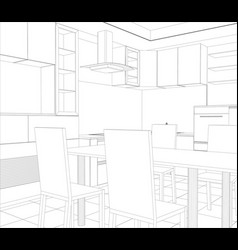 Facade kitchen sketch interior vector