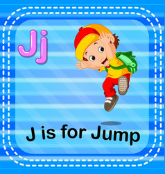 Flashcard letter j is for jump vector