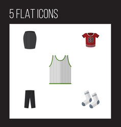 Flat icon clothes set of singlet t-shirt foot vector