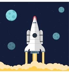 Flat rocket header background image vector