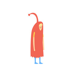 Freak man character in funny red costume freaky vector